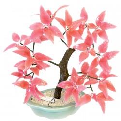 Pâte de verre - Arbre Bonzaï : Cerisier Japonais corail, H. 32 cm