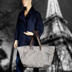 Sac - Grand cabas brodé : Tiffany gris, L. 65 cm