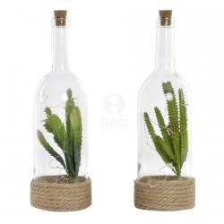 Lampe à Poser - LED Bouteille : Cactus, H. 33,5 cm