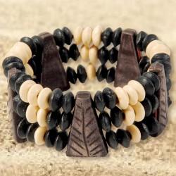 Bracelet - Bois Africain N&B, H. 2,5 cm
