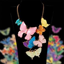 Parure - Envol papillons multicolores