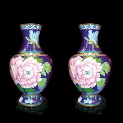 Vase - Pivoine émail cloisonné bleu, H. 20 cm (lot de 2)