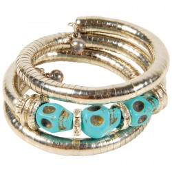 Bracelet Spirale - Haute Égypte : Serpent Skulls turquoise