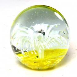 Presse-papier - Sulfure Nautilus blanc fond jaune, ø 8 cm