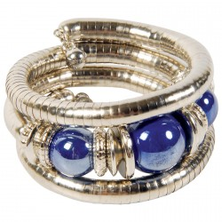 Bracelet Spirale - Haute Egypte Argente + Perles Bleues