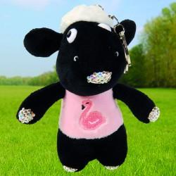 Porte-Clés - Mouton Noir au T-Shirt Flamant Rose, H. 16 cm