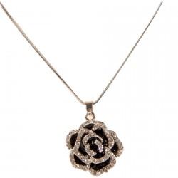 Parure - Rose Noire Strass, L. 50 cm