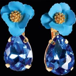 Boucles d'Oreilles Pendants - Bleues, H. 3,5 cm