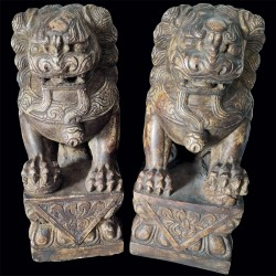 Sculpture - Lions de Pierre, H. 27 cm (Set de 2)