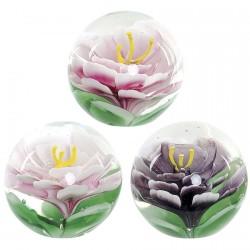 Presse-Papier Verre - Fleur, 8x8x8cm - Rose Pâle