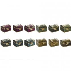 Mini-Boîte en bois et Laiton - 5x4x4 cm, divers coloris