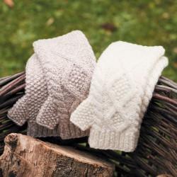 Mitaines laine - Aran blanc, TU