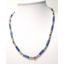 Collier - Egypte : Lapis-lazuli et Turquoise, L. 42 cm