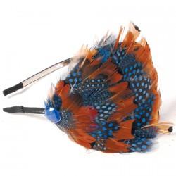 Serre-Tête - Plume de Paon bleu et orange, TU