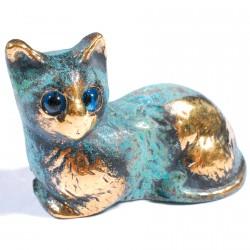 Sculpture bronze bleu - Petit Chat Grec, L. 4 cm