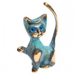 Figurine Bronze Bleu - Chat Patte Levée Grec, H. 7 cm
