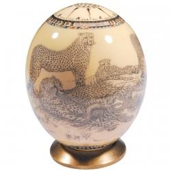 Oeuf de collection - Oeuf d'autruche : Guépards sur fond blanc, H. 17 cm