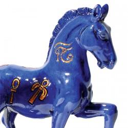 Figurine - Léonard de Vinci, Égypte : Cheval bleu, H. 10 cm