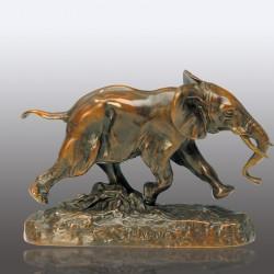 Sculpture Bronze - Antoine-Louis Barye : Eléphant du Sénégal Courant, L. 18 cm