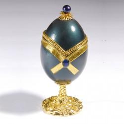 Oeuf de Collection - Inspiration Fabergé : Oeuf Nœud bleu, H. 13,5 cm