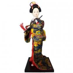 Poupée de Collection - Gaisha Kimono noir, H. 28–30 cm