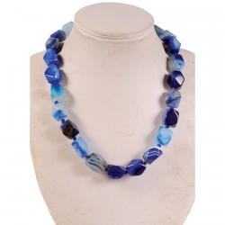 Collier - Merveilleuses Agates : Bleu, L. 45 cm