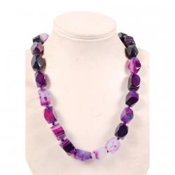 Collier - Merveilleuses Agates : Violet, L. 45 cm