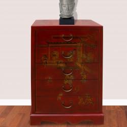 Chiffonnier - Feng rouge, H. 90 cm