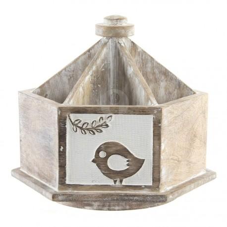Gobelet Bois 20X23X20 Giratoire Blanc, H. 20 cm