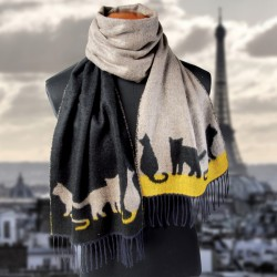 Foulard - Chat gris, L. 180 cm