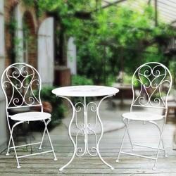 Salon de Jardin - Table & ses 2 Chaises, ø 60 cm