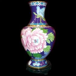 Vase - Pivoine émail cloisonné bleu, H. 20 cm