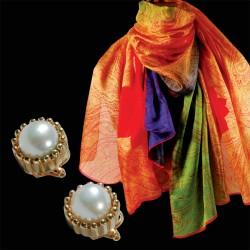 Offre Spéciale - Etole Cachemire et Boucles d'Oreilles Akoya