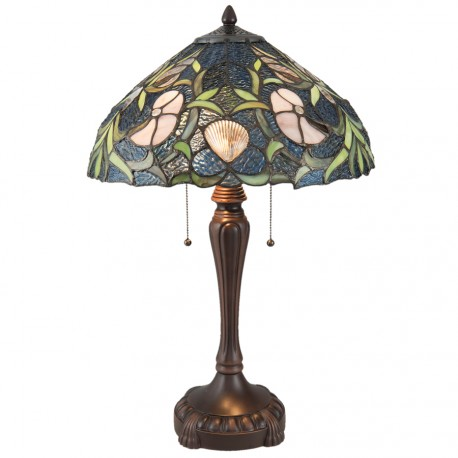 Lampe de Chevet - Style Tiffany : Coquillage , H. 62 cm